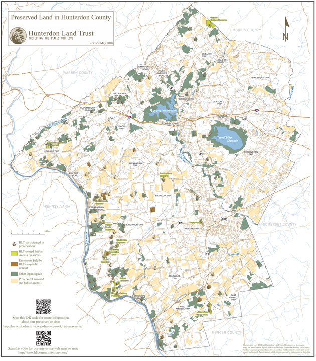 Map of preserved land in Hunterdon County