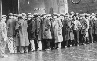 Depression-era soup line